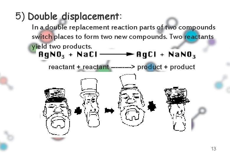 5) Double displacement: In a double replacement reaction parts of two compounds switch places