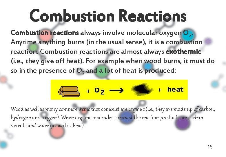 Combustion Reactions Combustion reactions always involve molecular oxygen O 2. Anytime anything burns (in