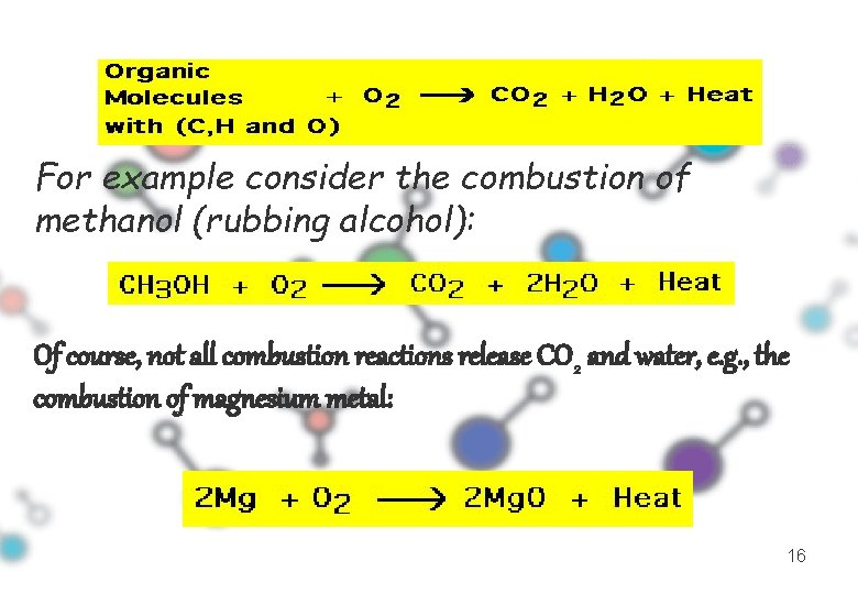 For example consider the combustion of methanol (rubbing alcohol): Of course, not all combustion