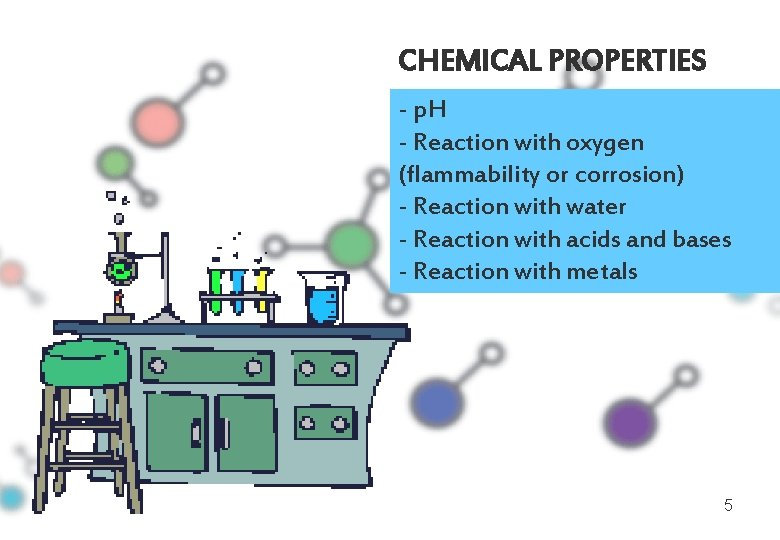 CHEMICAL PROPERTIES - p. H - Reaction with oxygen (flammability or corrosion) - Reaction
