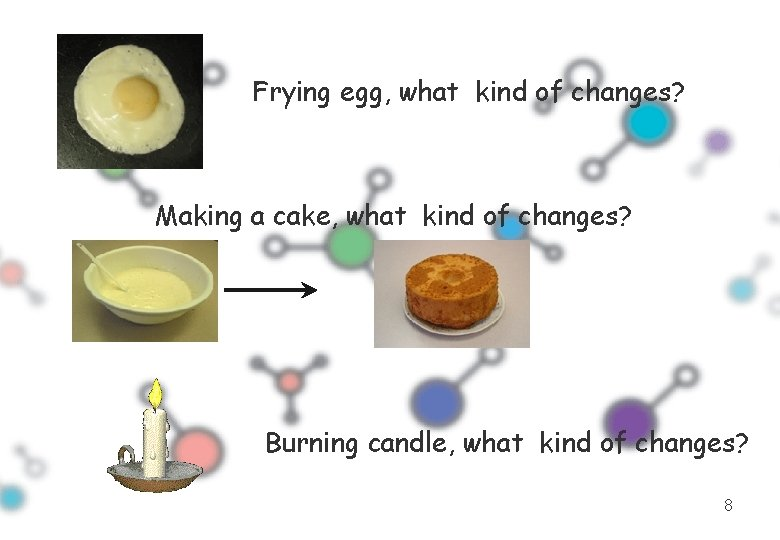 Frying egg, what kind of changes? Making a cake, what kind of changes? Burning
