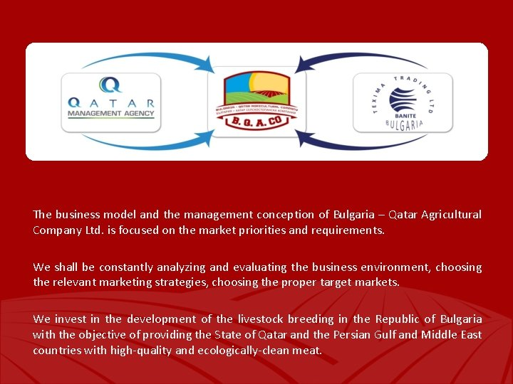 The business model and the management conception of Bulgaria – Qatar Agricultural Company Ltd.