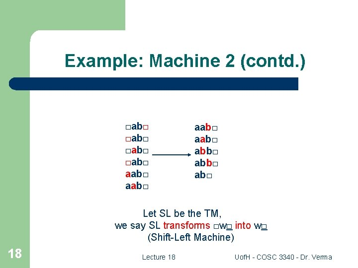 Example: Machine 2 (contd. ) □ab□ aab□ abb□ ab□ Let SL be the TM,
