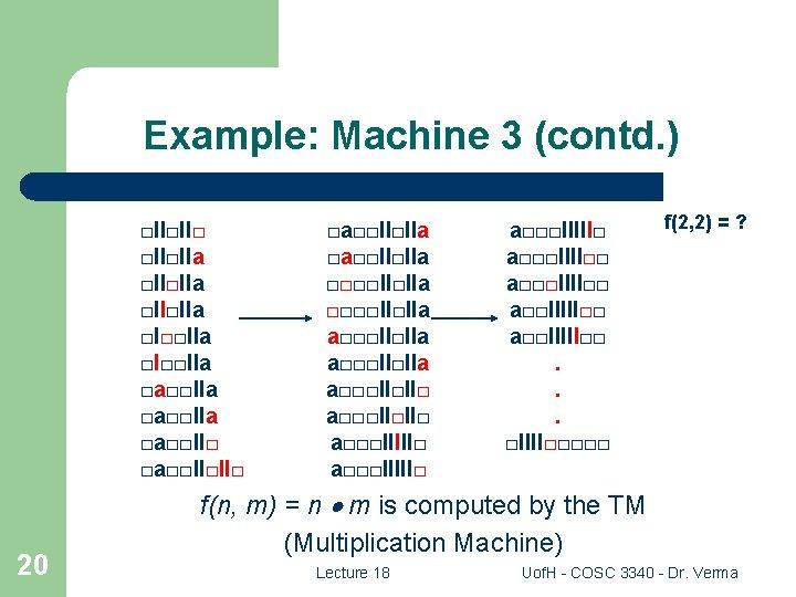 Example: Machine 3 (contd. ) □II□II□IIa □II□IIa □I□□IIa □a□□IIa □a□□II□II□ 20 □a□□II□IIa □□□□II□IIa a□□□II□IIa