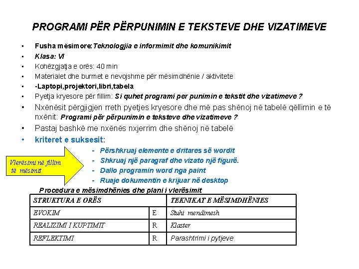 PROGRAMI PËRPUNIMIN E TEKSTEVE DHE VIZATIMEVE • • • Fusha mësimore: Teknologjia e informimit