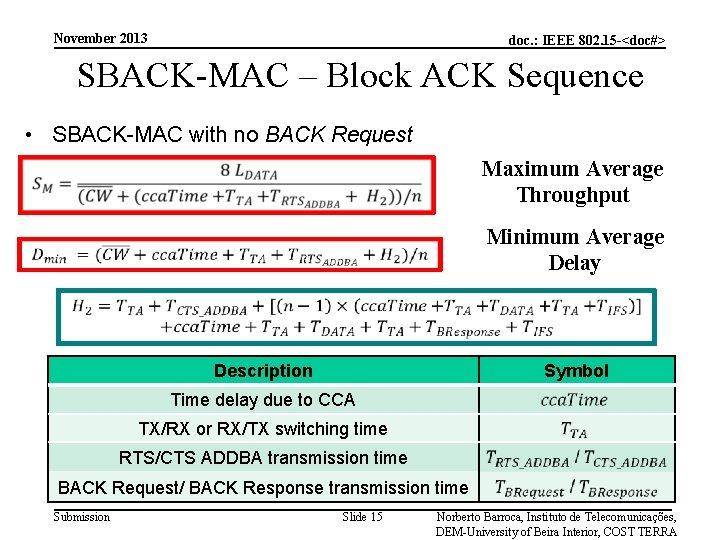 November 2013 doc. : IEEE 802. 15 -<doc#> SBACK-MAC – Block ACK Sequence •