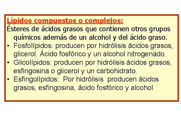 Lípidos compuestos o complejos: Ésteres de ácidos grasos que contienen otros grupos químicos además