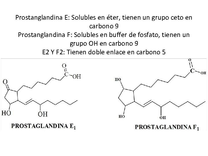 Prostanglandina E: Solubles en éter, tienen un grupo ceto en carbono 9 Prostanglandina F: