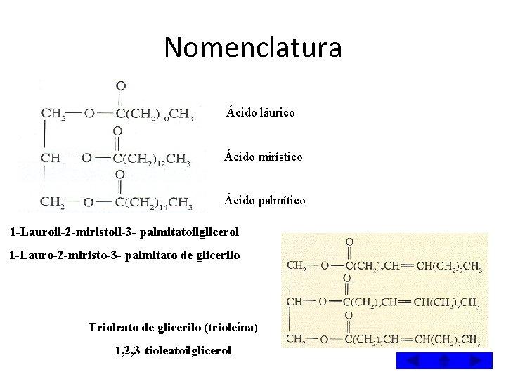 Nomenclatura Ácido láurico Ácido mirístico Ácido palmítico 1 -Lauroil-2 -miristoil-3 - palmitatoilglicerol 1 -Lauro-2