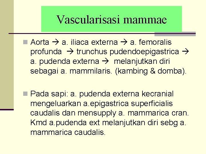 Vascularisasi mammae n Aorta a. iliaca externa a. femoralis profunda trunchus pudendoepigastrica a. pudenda