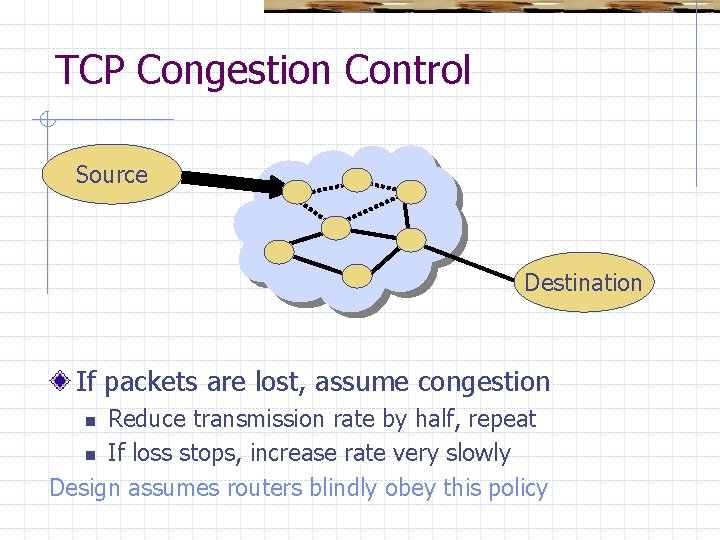 TCP Congestion Control Source Destination If packets are lost, assume congestion Reduce transmission rate