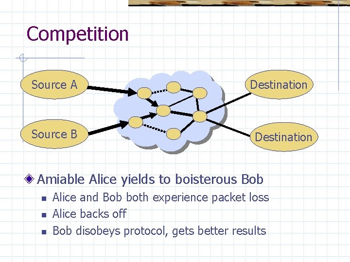 Competition Source A Source B Destination Amiable Alice yields to boisterous Bob n n