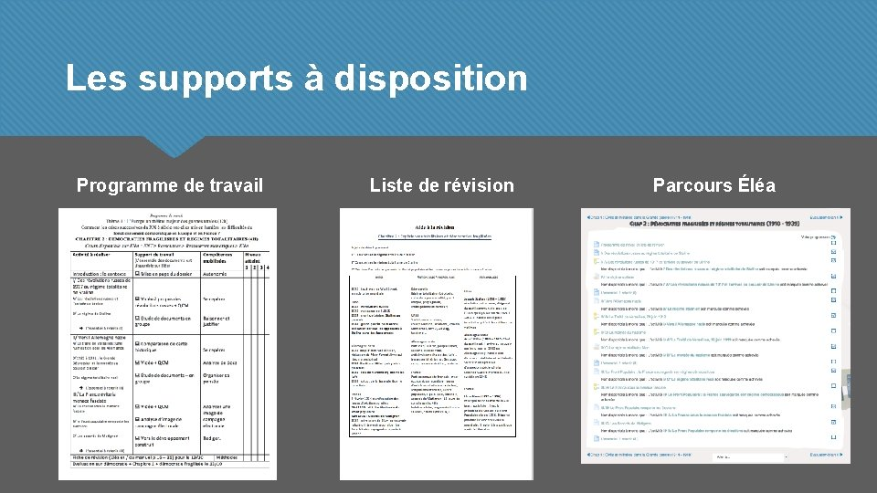 Les supports à disposition Programme de travail Liste de révision Parcours Éléa