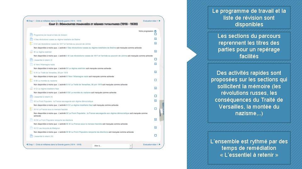 Le programme de travail et la liste de révision sont disponibles Les sections du