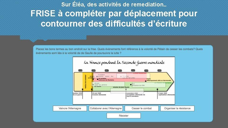 Sur Éléa, des activités de remediation… FRISE à compléter par déplacement pour contourner des