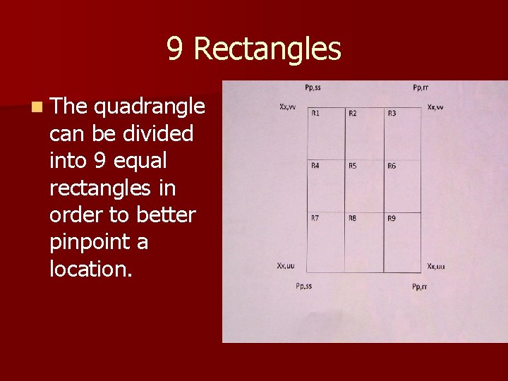 9 Rectangles n The quadrangle can be divided into 9 equal rectangles in order