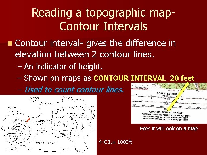 Reading a topographic map. Contour Intervals n Contour interval- gives the difference in elevation