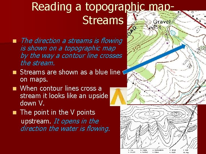 Reading a topographic map. Streams n The direction a streams is flowing is shown
