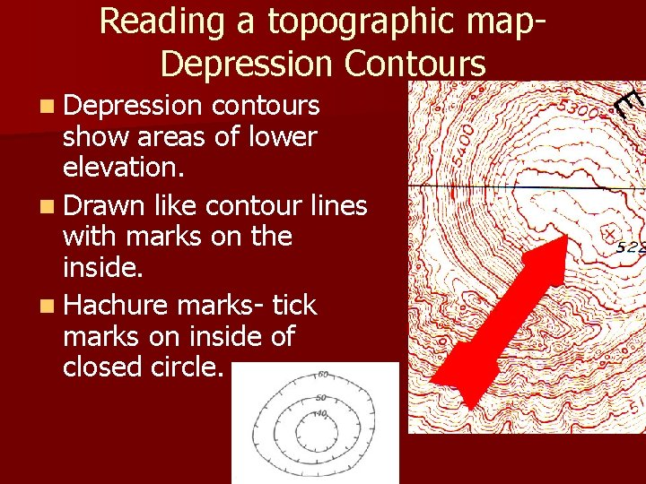 Reading a topographic map. Depression Contours n Depression contours show areas of lower elevation.