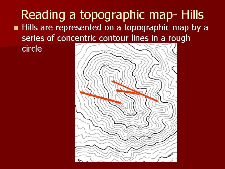 Reading a topographic map- Hills n Hills are represented on a topographic map by