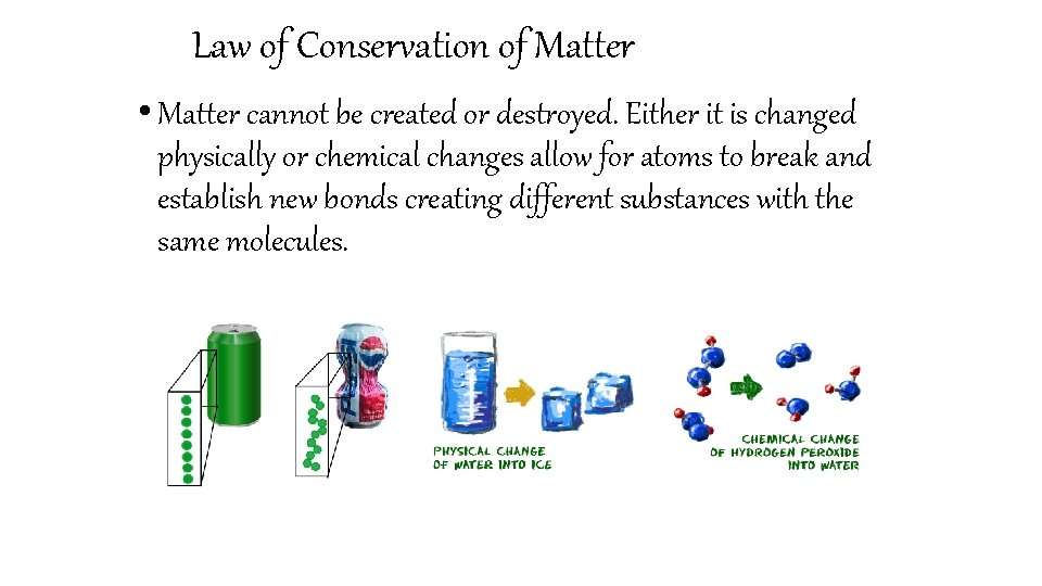 Law of Conservation of Matter • Matter cannot be created or destroyed. Either it