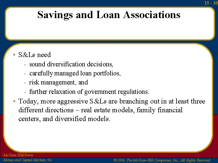 15 - 10 Savings and Loan Associations • S&Ls need - sound diversification decisions,