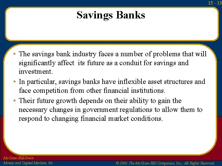 15 - 13 Savings Banks • The savings bank industry faces a number of