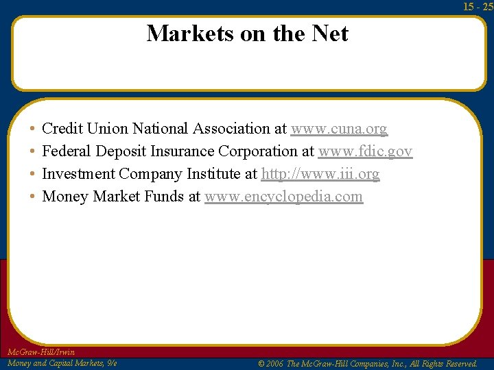 15 - 25 Markets on the Net • • Credit Union National Association at