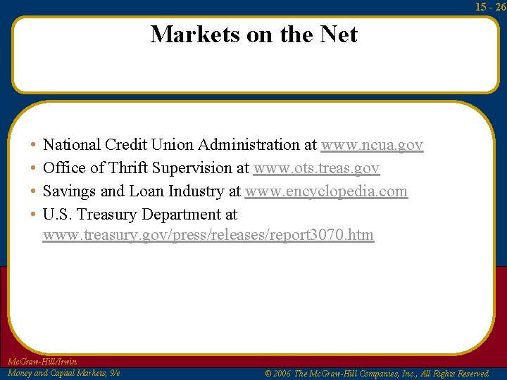 15 - 26 Markets on the Net • • National Credit Union Administration at
