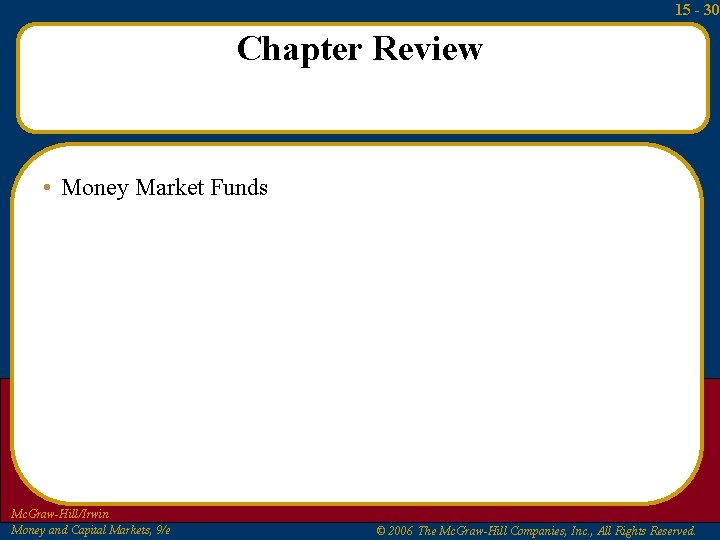 15 - 30 Chapter Review • Money Market Funds Mc. Graw-Hill/Irwin Money and Capital
