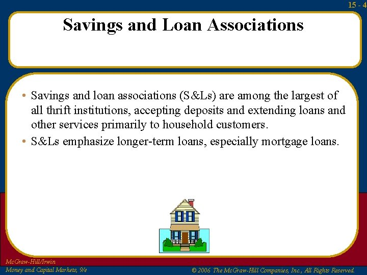 15 - 4 Savings and Loan Associations • Savings and loan associations (S&Ls) are
