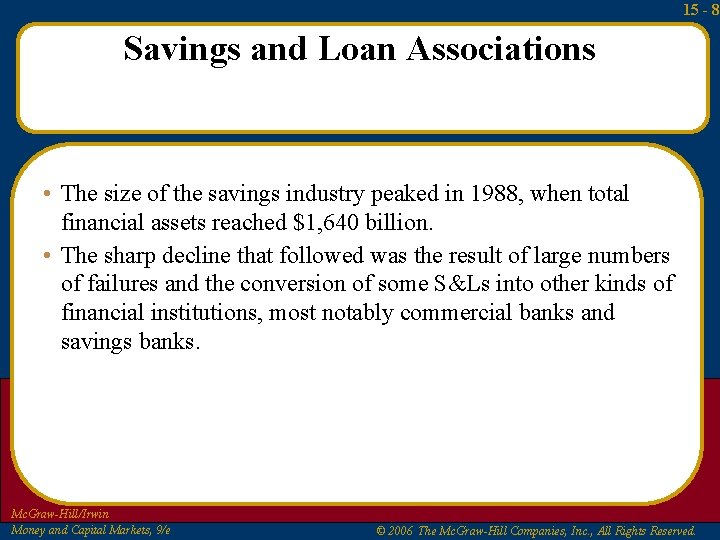 15 - 8 Savings and Loan Associations • The size of the savings industry