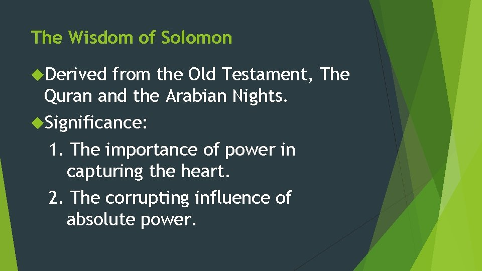The Wisdom of Solomon Derived from the Old Testament, The Quran and the Arabian
