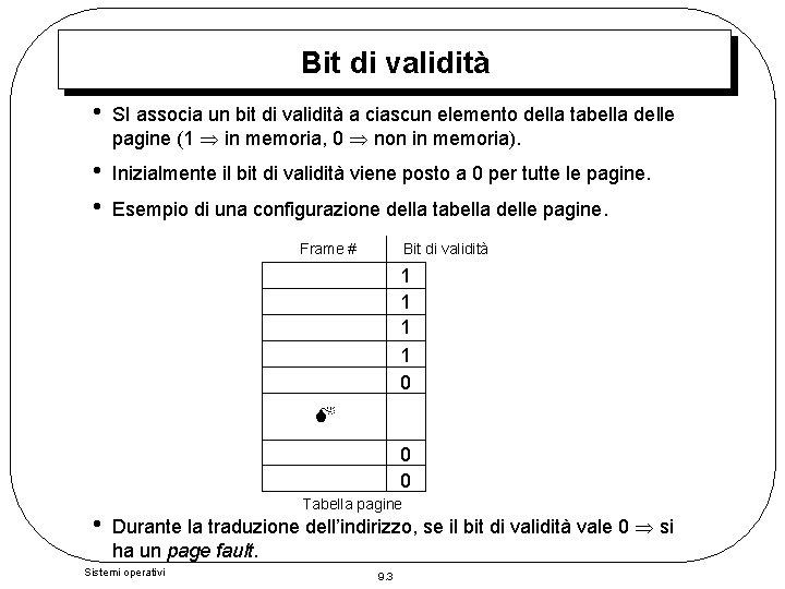 Bit di validità • SI associa un bit di validità a ciascun elemento della