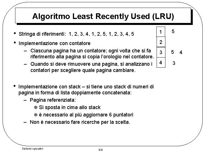 Algoritmo Least Recently Used (LRU) • • • Stringa di riferimenti: 1, 2, 3,