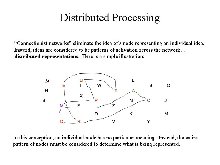 """Distributed Processing """"Connectionist networks"""" eliminate the idea of a node representing an individual idea."""