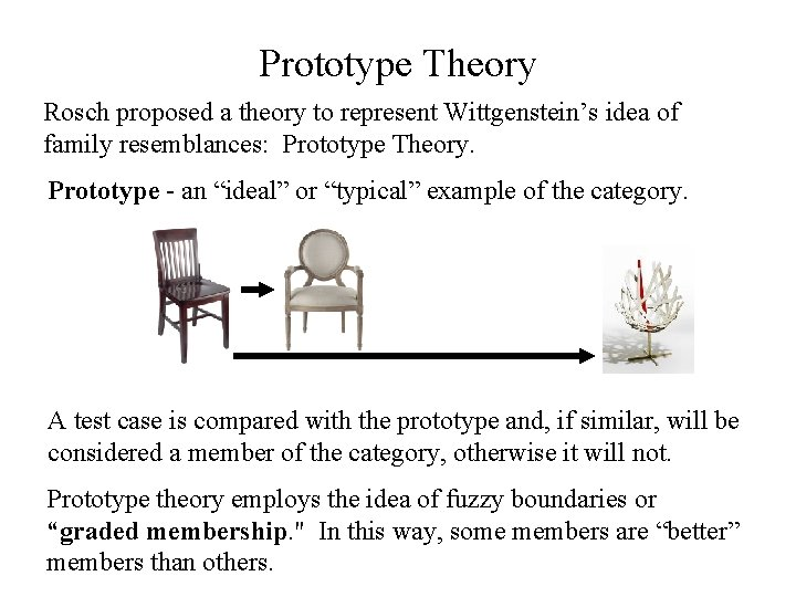 Prototype Theory Rosch proposed a theory to represent Wittgenstein's idea of family resemblances: Prototype