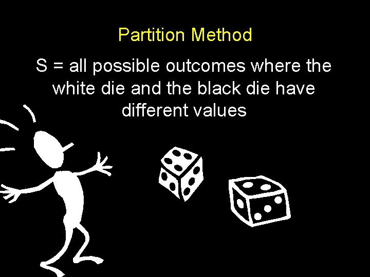 Partition Method S = all possible outcomes where the white die and the black