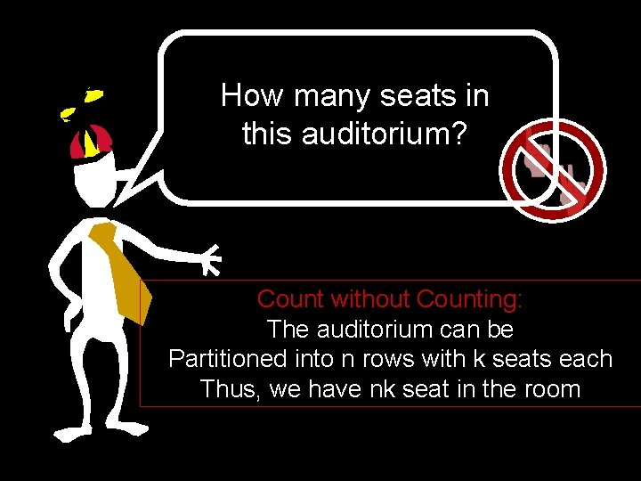 How many seats in this auditorium? Count without Counting: The auditorium can be Partitioned