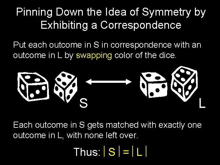 Pinning Down the Idea of Symmetry by Exhibiting a Correspondence Put each outcome in
