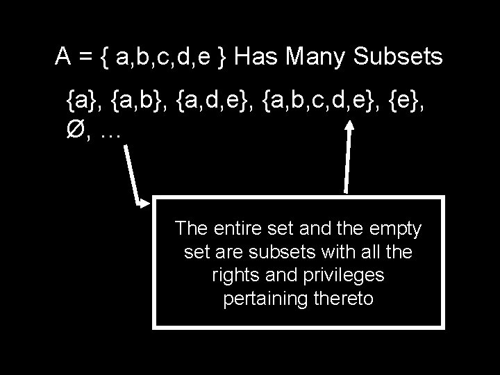 A = { a, b, c, d, e } Has Many Subsets {a}, {a,