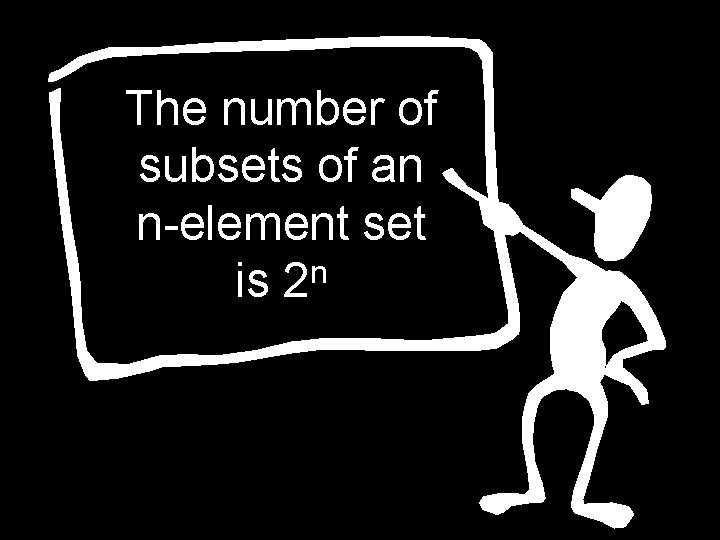 The number of subsets of an n-element set n is 2