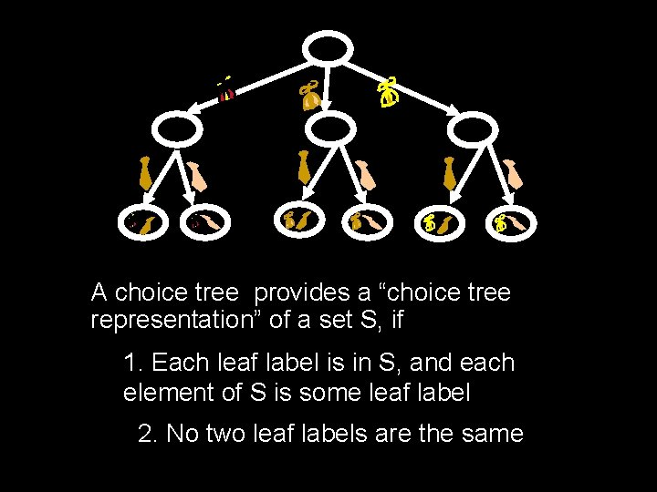 "A choice tree provides a ""choice tree representation"" of a set S, if 1."