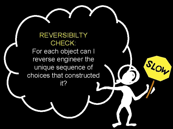 REVERSIBILTY CHECK: For each object can I reverse engineer the unique sequence of choices