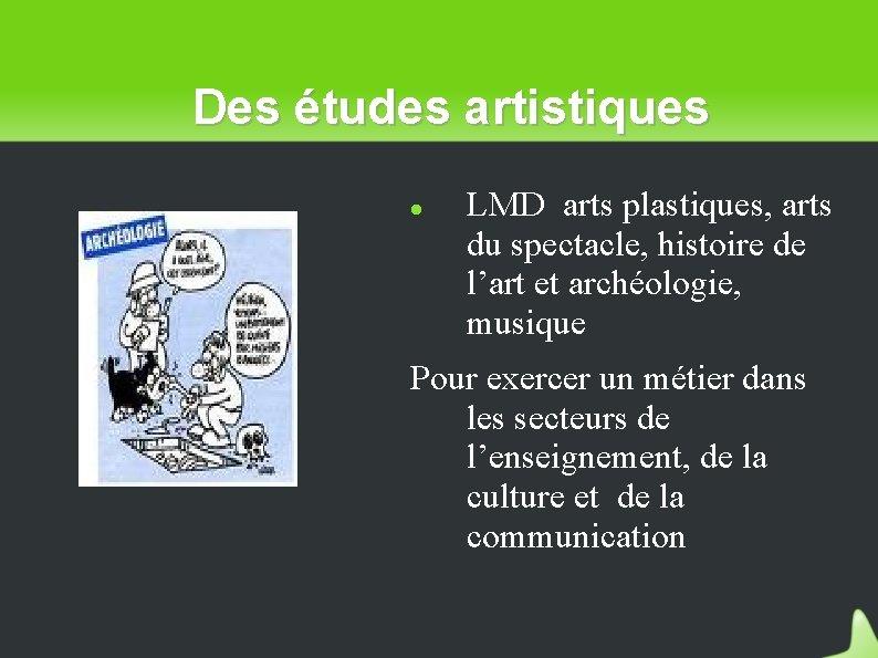 Des études artistiques LMD arts plastiques, arts du spectacle, histoire de l'art et archéologie,