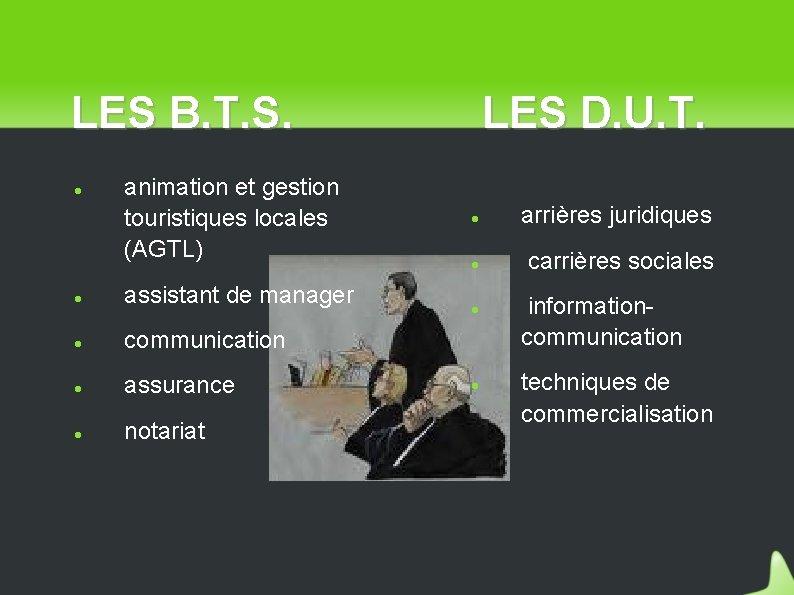 LES B. T. S. animation et gestion touristiques locales (AGTL) assistant de manager communication
