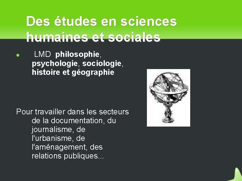 Des études en sciences humaines et sociales LMD philosophie, psychologie, sociologie, histoire et géographie
