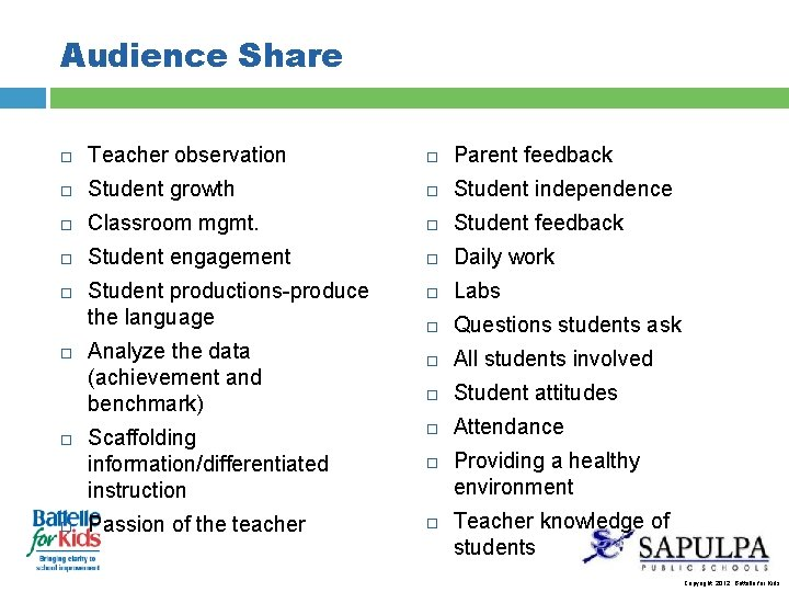 Audience Share Teacher observation Parent feedback Student growth Student independence Classroom mgmt. Student feedback