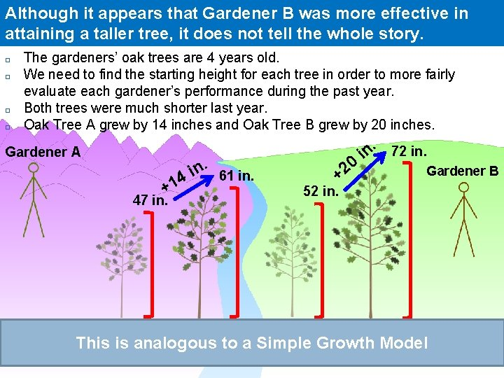 Although it appears that Gardener B was more effective in attaining a taller tree,