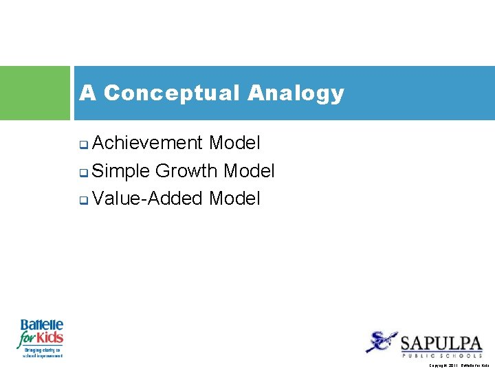A Conceptual Analogy Achievement Model q Simple Growth Model q Value-Added Model q Copyright,